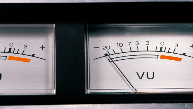 two old analog dial vu signal indicators with arrow - cassetta video stock e b–roll