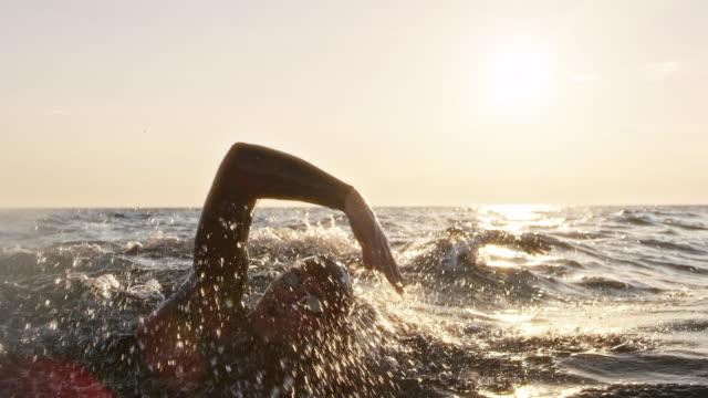 vídeos de stock e filmes b-roll de slo mo ts two open water swimmers swimming forward crawl on a sunny day at sea - swim arms