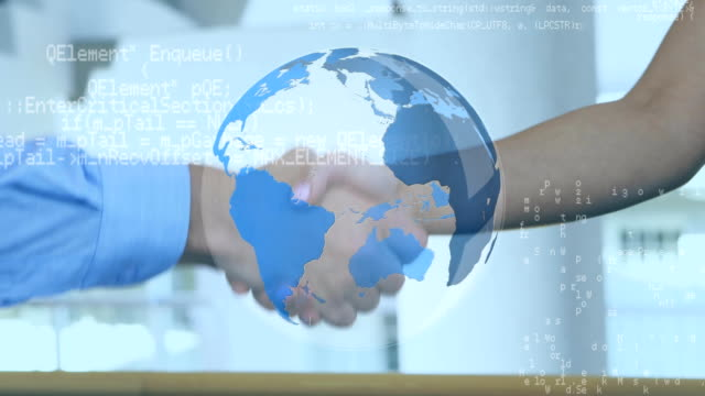 Two person shaking hands and a globe with program codes