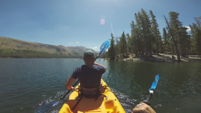 POV of two persons kayaking in a calm lake