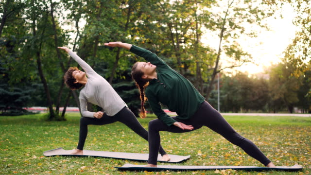 Two pretty women are doing yoga outdoors in park on mats practising asanas and breathing fresh air. Individual practice, professional instructor and nature concept.