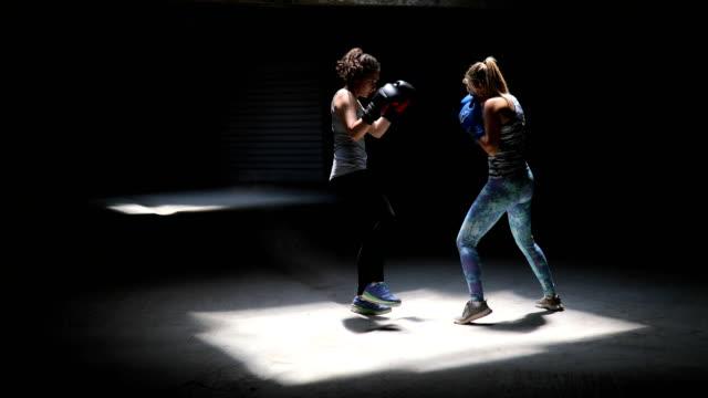 vídeos de stock, filmes e b-roll de dois pugilistas profissionais chute sparring com uns aos outros - artes marciais
