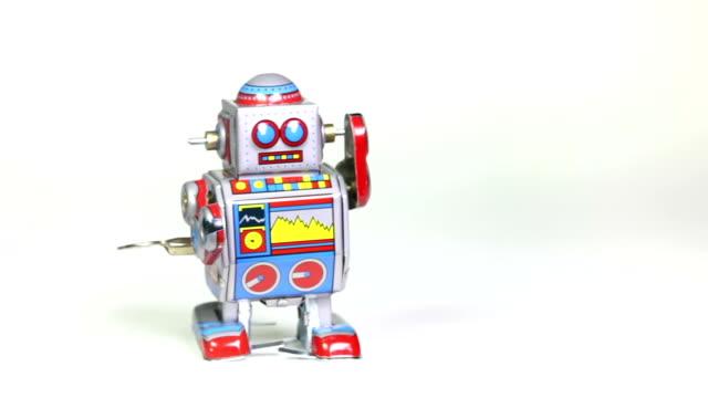 Two retro tin toy robots