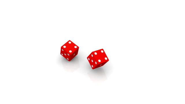 Two rolling red dice video