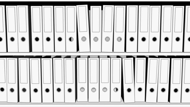 Two rows of empty office binders FullHD seamless loopable sketch animation video