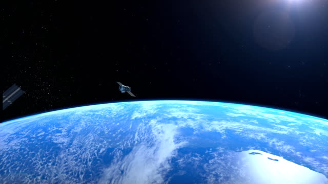 Two satellites is orbiting the Earth. video