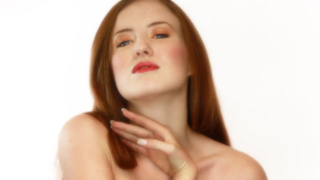 Two shots of beautiful woman on white background  red lipstick stock videos & royalty-free footage