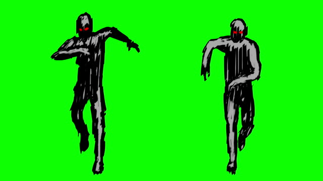 Two silhouettes of running zombies on the camera Two silhouettes of running zombies on the camera. Monsters on green screen. Looped video footage in genre of horror. ghost icon stock videos & royalty-free footage