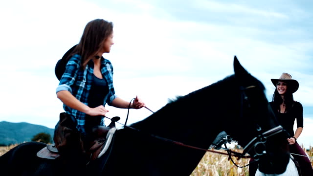two sisters horseback riding - ranch video stock e b–roll