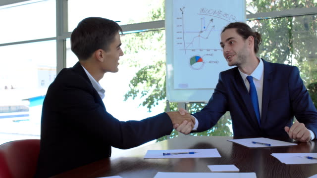 Two smart men makes a successful deal and shakes hands video