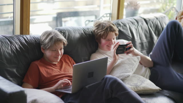 Video Two teenager boys together on the sofa working on their school work
