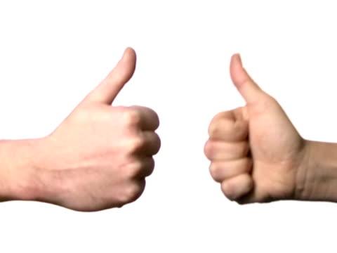 pollici in su - mano donna dita unite video stock e b–roll