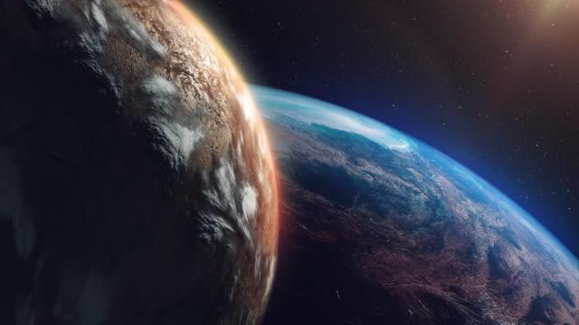 two unknown planets beyond our solar system - badawczy statek kosmiczny filmów i materiałów b-roll