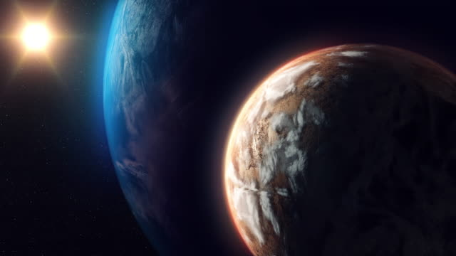 two unknown planets beyond our solar system - due oggetti video stock e b–roll