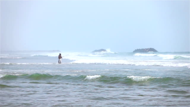 two videos of angler by the ocean -real slow motion - żabnicokształtne filmów i materiałów b-roll