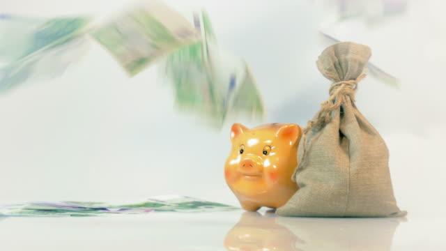 Two videos of falling euro money in 4K video