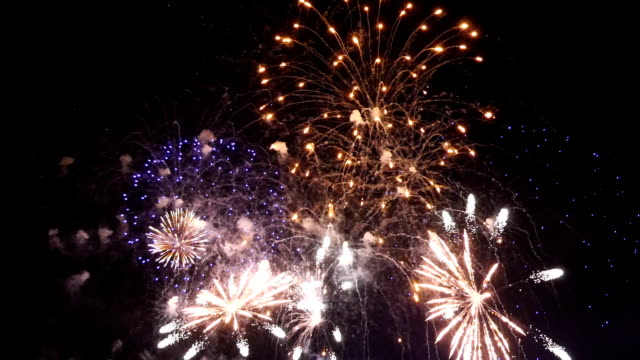 two videos of fireworks colourful show - canada day stock videos & royalty-free footage
