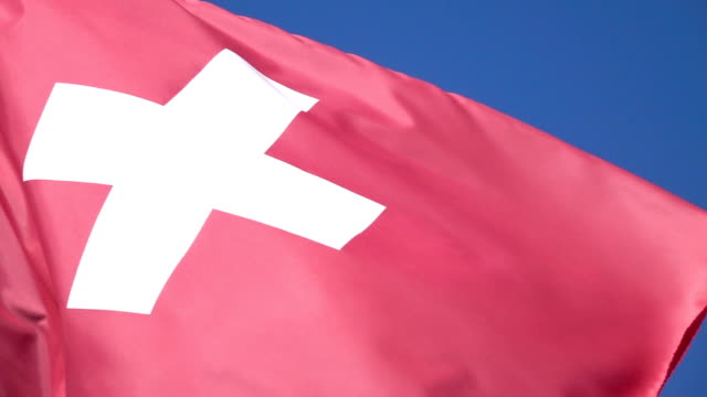Two videos of flag of Switzerland in real slow motion