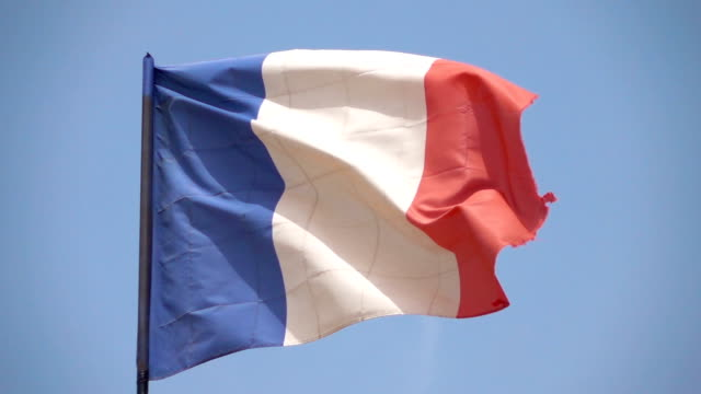 Two videos of french flag in real slow motion video