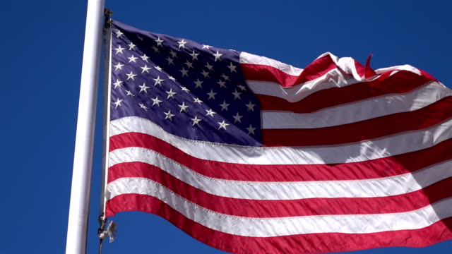 Two videos of United States flag waving in the wind in 4K video