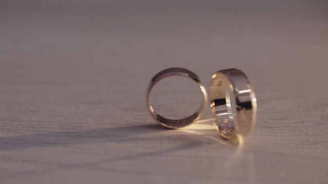 Two wedding rings rolling on the floor