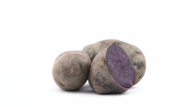 zwei ganze violetten kartoffeln und die hälfte der kartoffel vitelotte. drehen auf der drehscheibe auf dem weißen hintergrund isoliert. hautnah. makro. - knollig stock-videos und b-roll-filmmaterial