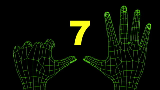 Two wireframed hands making a countdown video