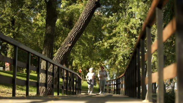アクティブな健康的なライフ スタイルの朝、公園でジョギングを一緒に 2 人の女性の友人 ビデオ