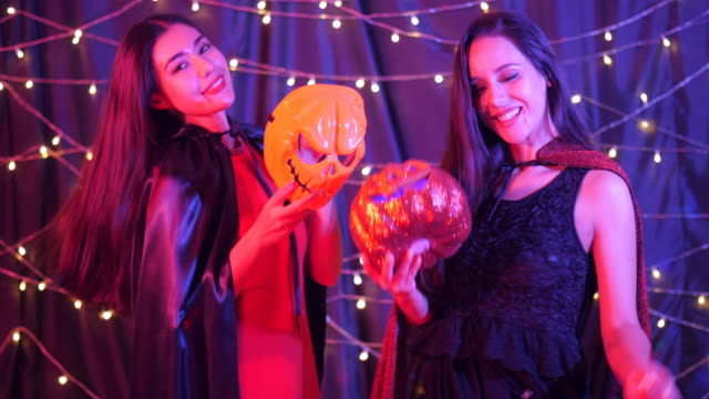 Two woman in Celebrating Halloween Party