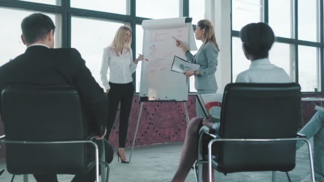 Two women colleagues discuss graphics near the flipchart and communicate with the audience. Creative office interior. Co-working. Office life video