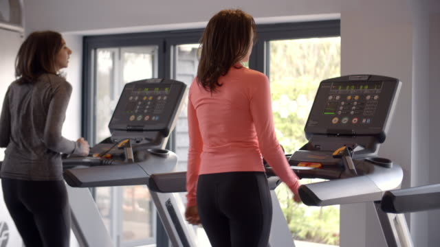 Two women exercise on running machines at a gym, back view video