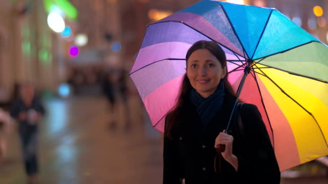 Two women friends meeting in rainy evening video