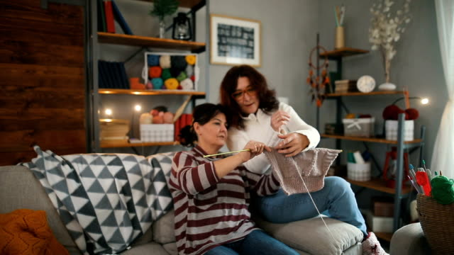 Two women knitting at home