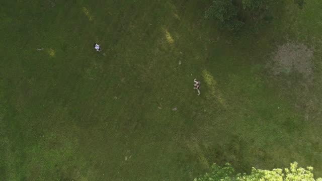 vídeos y material grabado en eventos de stock de dos mujeres jugando bádminton en el jardín. vista superior directamente por encima, video abejón aéreo - bádminton deporte