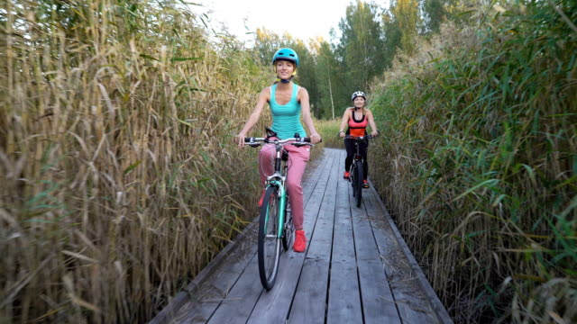 vídeos de stock e filmes b-roll de two women ride bicycles on a wooden ecological trail among the reeds - amizade feminina