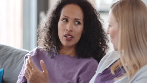 due donne che parlano sul divano - due persone video stock e b–roll