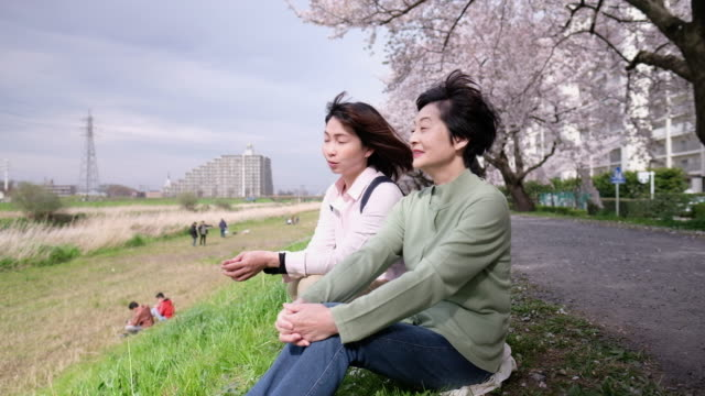Two women talking to each other under blooming cherry tree