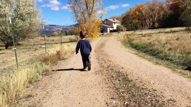 A Two Year-Old Caucasian Boy Runs Down a Dirt Road Toward a House in Fall in Western Colorado under a Sunny Sky
