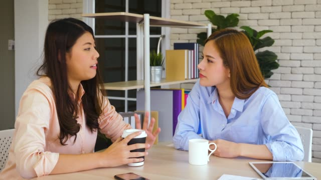 Two young Asian female entrepreneurs working together at home office