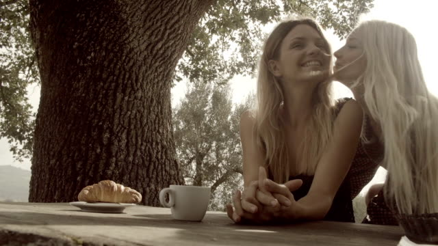 two young beautiful happy women, friends or lesbian homosexual couple, kiss and smile before italian breakfast in natural rural scenic outdoor during summer sunny day morning in tuscany - slow-motion hd video footage - {{asset.href}} 個影片檔及 b 捲影像