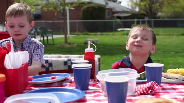 Two young boys eating at barbecue  family 4th of july stock videos & royalty-free footage