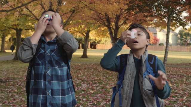 Two Young Brothers Playing with a Popular Spinning Toy Two young boys spinning toys in the park on a fall day autism stock videos & royalty-free footage