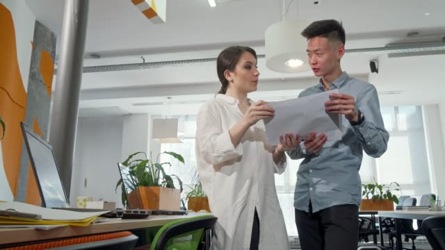 Two young business entrepreneurs going through papers at the office