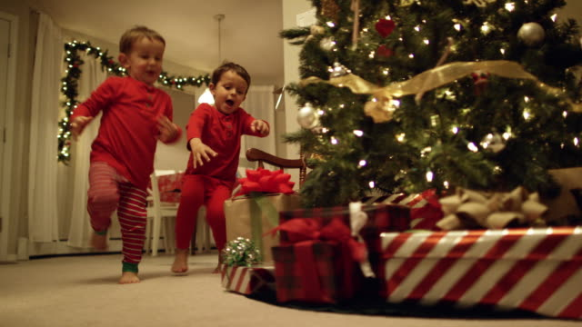 vídeos de stock e filmes b-roll de two young (three and five year-old) caucasian boys in pajamas run to the christmas tree and excitedly pick up christmas presents from underneath the christmas tree on christmas day - arvore de natal