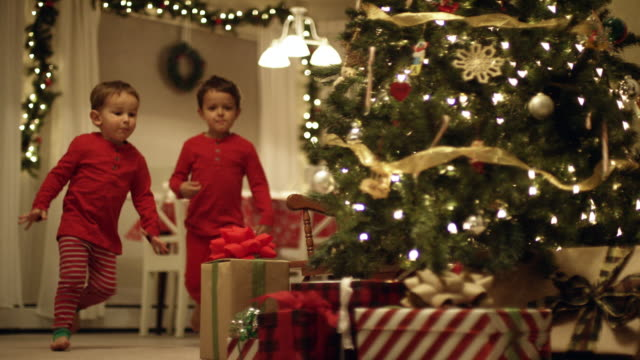 two young (three and five year-old) caucasian boys in pajamas run to the christmas tree and excitedly pick up christmas presents from underneath the christmas tree on christmas day - cena di natale video stock e b–roll