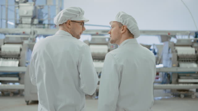 Two Young Food Factory Employees Discuss Work-Related Matters. Male Technician or Quality Manager Uses a Tablet Computer for Work. They Wear White Sanitary Hat and Work Robes. Two Young Food Factory Employees Discuss Work-Related Matters. Male Technician or Quality Manager Uses a Tablet Computer for Work. They Wear White Sanitary Hat and Work Robes. quality control stock videos & royalty-free footage