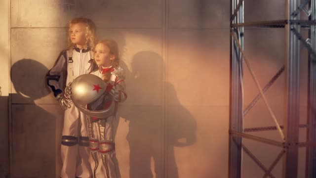 Two young girls astronauts