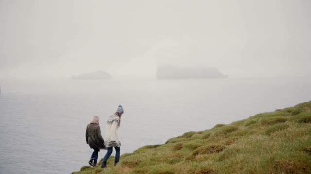 Two young woman hiking in the mountains. Traveling female exploring the Iceland, walking on the shore of the sea video