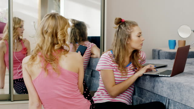 Two young women relaxing at home, use different device, phone, laptop. Pajama party girlfriends video
