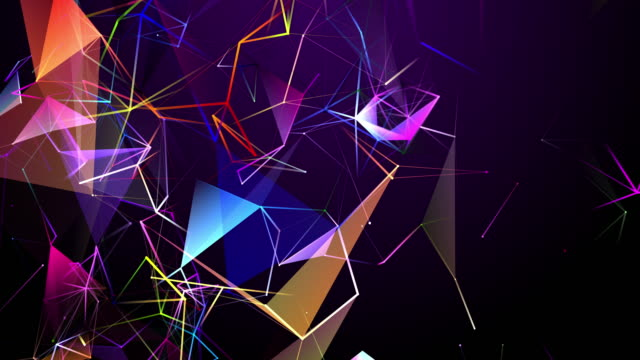 Two-dimensional Shape Looping and changing colors In the form of interconnected lines